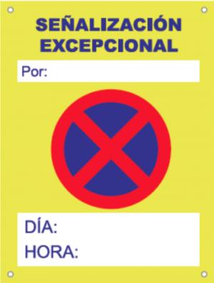 Cartel Poliet. 50x70 Prohibido aparcar con horario